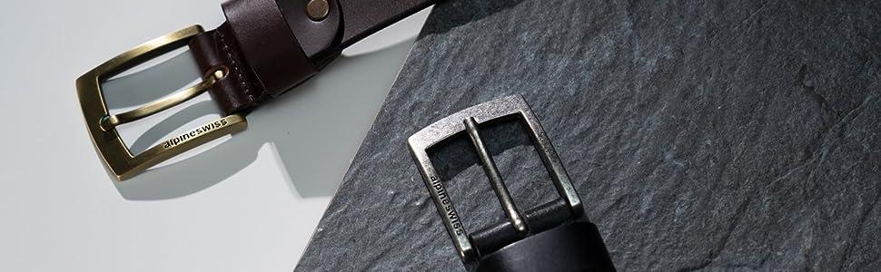 alpine swiss mens cowhide leather belt 35mm belt