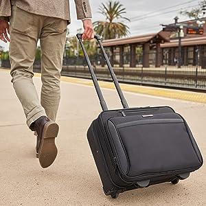 rolling overnight briefcase wheeled briefcase laptop business portfolio overnight travel case