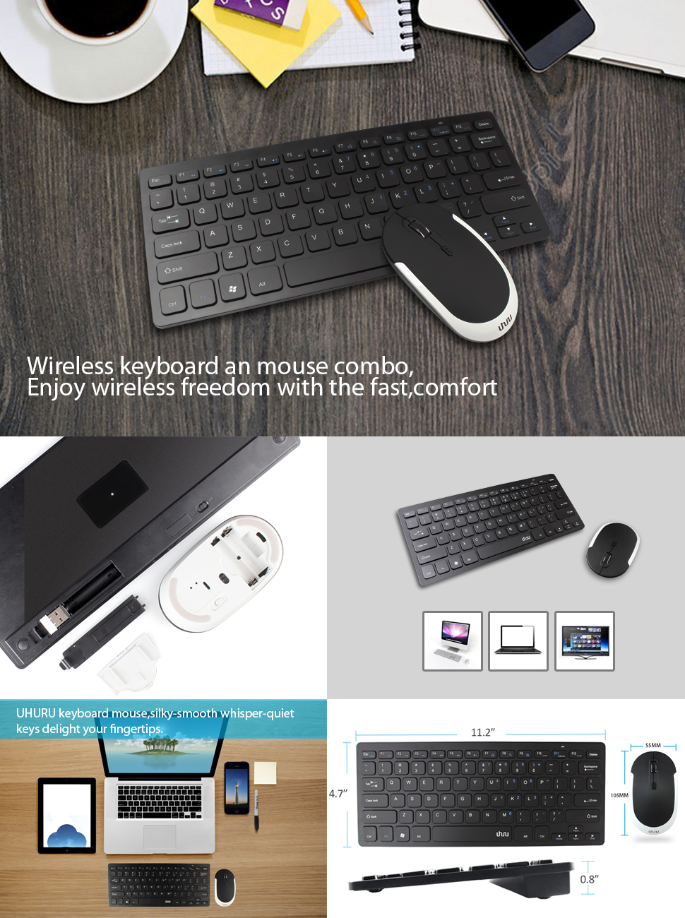 keyboard mouse uhuru 2 4g ultra thin wireless keyboard with silent mouse combo for. Black Bedroom Furniture Sets. Home Design Ideas