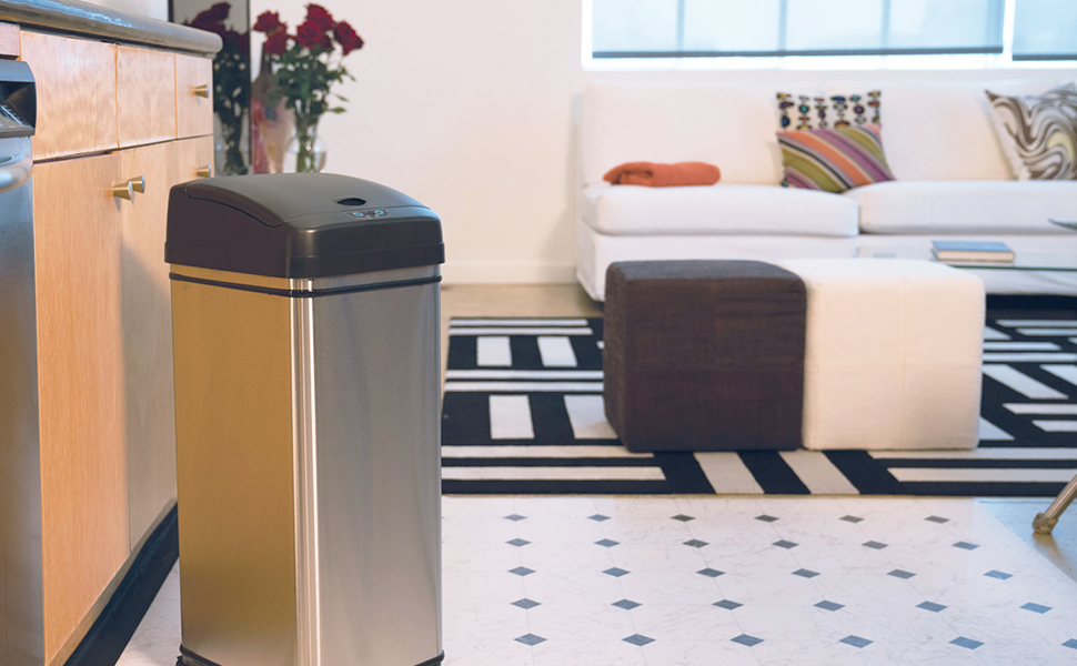 Stainless steel waste basket trash can garbage rubbish bin recycle