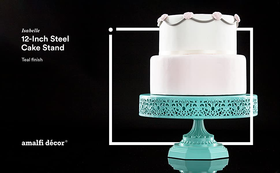 154f76dcad50 Amalfi Decor 12-Inch Metal Wedding Birthday Cake Stand Pedestal, Teal Finish