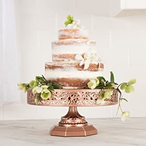 victoria collection rose gold 12 inch metal cake stand round wedding birthday. Black Bedroom Furniture Sets. Home Design Ideas