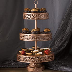 elegant and versatile this victoria collection rose gold 3tier cupcake stand will stand out at an upscale party or work against your everyday