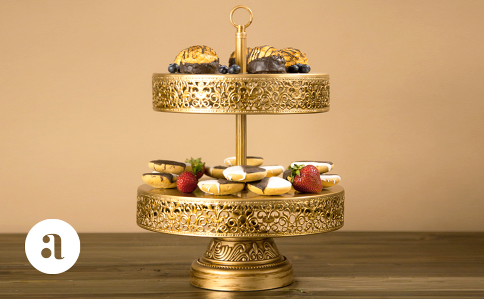 Amazon.com | Victoria Collection\' 2 Tier Dessert Stand with ...