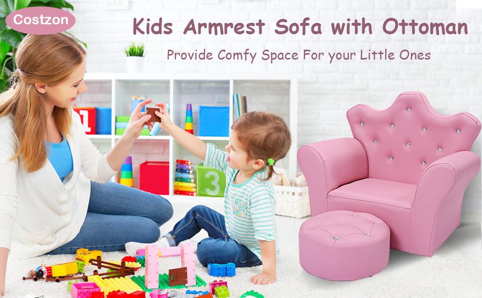 kids armrest sofa with ottoman