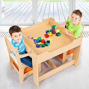 Two kids are playing lego. - Costzon Kids Table And 2 Chairs Set, 3 In 1 Wooden Table Furniture For Toddlers Drawing, Reading, Train, Art Playroom, Activity Table Desk Sets (Convertible Set With Storage Space)