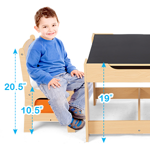 kid sized table and chair - Costzon Kids Table And 2 Chairs Set, 3 In 1 Wooden Table Furniture For Toddlers Drawing, Reading, Train, Art Playroom, Activity Table Desk Sets (Convertible Set With Storage Space)
