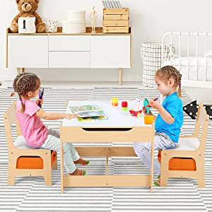two kids are reading - Costzon Kids Table And 2 Chairs Set, 3 In 1 Wooden Table Furniture For Toddlers Drawing, Reading, Train, Art Playroom, Activity Table Desk Sets (Convertible Set With Storage Space)