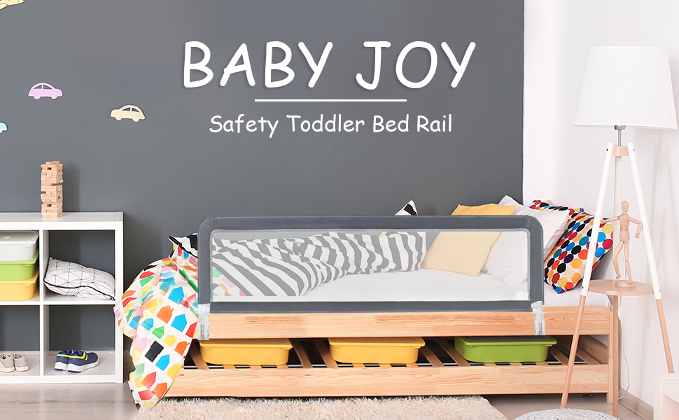 Gray, 59-Inch Kids Twin Swing Down Bedrail for Convertible Crib Double BABY JOY Toddlers Bed Rail Guard Full Size Queen /& King Stainless Steel Folding Safety Bed Guard