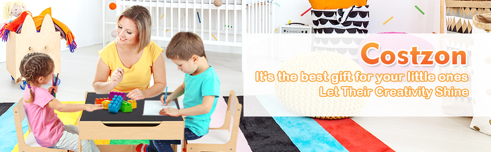 kids activity table - Costzon Kids Table And 2 Chairs Set, 3 In 1 Wooden Table Furniture For Toddlers Drawing, Reading, Train, Art Playroom, Activity Table Desk Sets (Convertible Set With Storage Space)