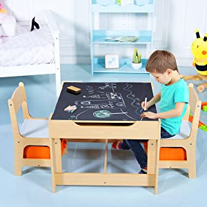 a boy is drawing on the table - Costzon Kids Table And 2 Chairs Set, 3 In 1 Wooden Table Furniture For Toddlers Drawing, Reading, Train, Art Playroom, Activity Table Desk Sets (Convertible Set With Storage Space)