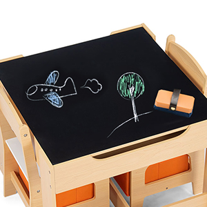 table with blackboard for drawing - Costzon Kids Table And 2 Chairs Set, 3 In 1 Wooden Table Furniture For Toddlers Drawing, Reading, Train, Art Playroom, Activity Table Desk Sets (Convertible Set With Storage Space)