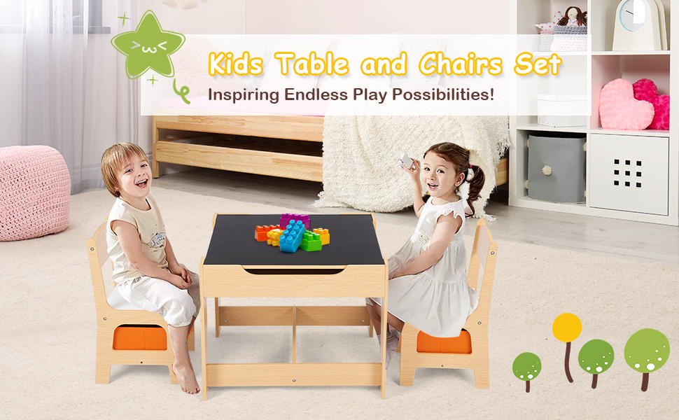 kids table and 2 chairs set - Costzon Kids Table And 2 Chairs Set, 3 In 1 Wooden Table Furniture For Toddlers Drawing, Reading, Train, Art Playroom, Activity Table Desk Sets (Convertible Set With Storage Space)