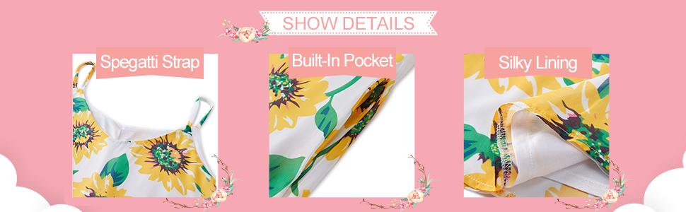 details of tropical chic boho sundress with pocket
