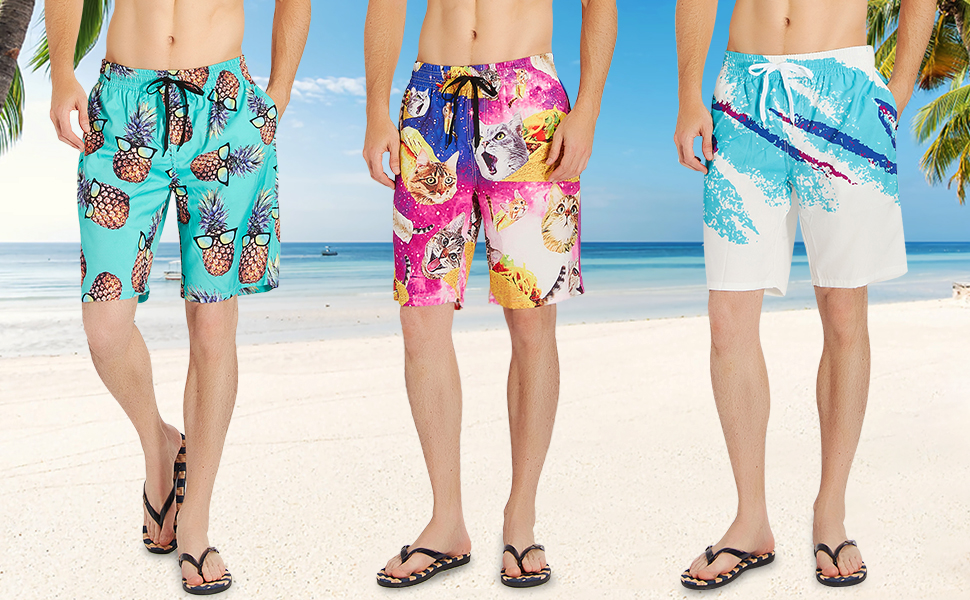 e8efcc6663725 RAISEVERN Swim Trunks Summer Beach Shorts Pockets Boardshorts for ...