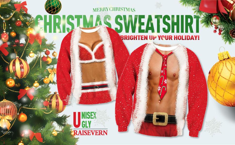 Amazoncom Raisevern Unisex Ugly Christmas Sweatshirt Funny Design