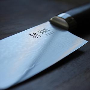 blade damascus steel Japanese chef knife VG-10 ebony handle