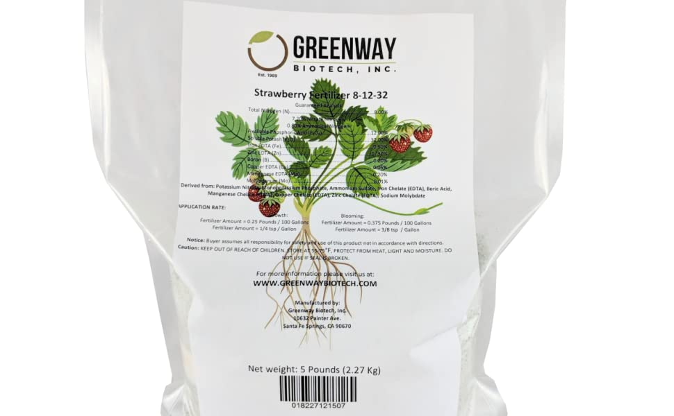 Strawberry Fertilizer 8-12-32 Powder 100% Water Soluble Plus Micro  Nutrients and Trace Minerals Greenway Biotech Brand 5 Pounds (Makes 1000  Gallons)