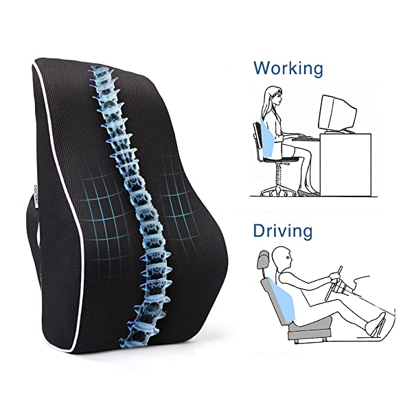 Amazon Com Promic Memory Foam Lumbar Support Back Cushion