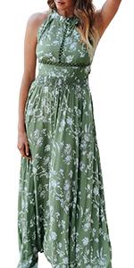 halter floral maxi dress