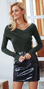 fb71372e9a7 Back knotted sweater dress · Wrap v neck knit dress · Bodycon Rivet Knit  Dress · Wrap v neck sweater · Halter one shoulder sweater