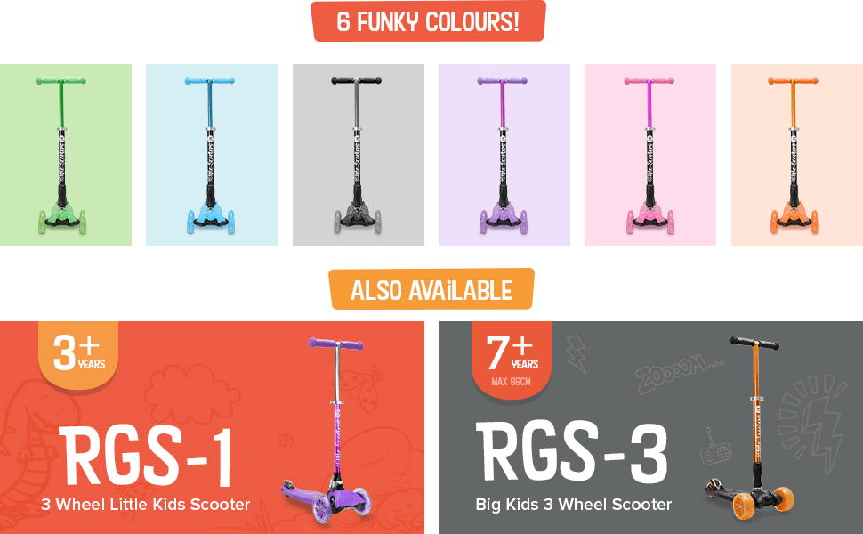 3Style Scooters RGS-2 Kids Three Wheel Kick Scooter - Perfect for Children Aged +5 - Featuring LED Light-Up Wheels, Foldable Design, Adjustable ...