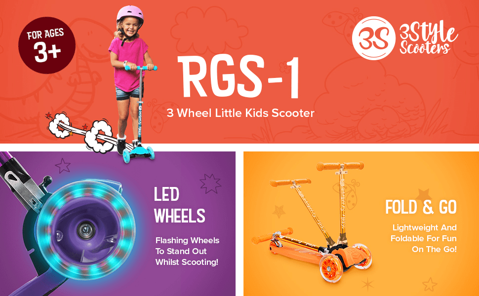 Amazon.com: 3Style Scooters rgs-1 Little Kids tres Rueda ...