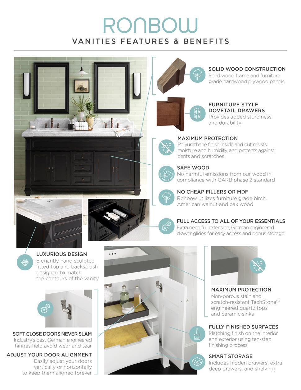 RONBOW Shaker 30 Inch Bathroom Vanity Set in Maple, Wood Cabinet ...