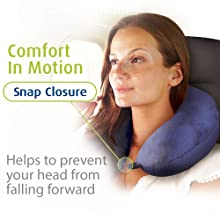 Cloudz Microbead Airplane Travel Neck Pillow includes a Snap Closure Keeps Head from Falling Forward
