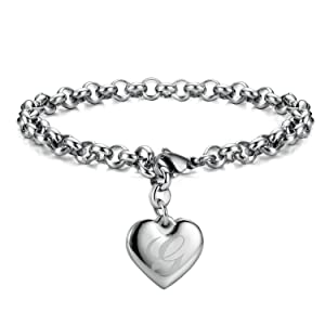 Monily Initial Charm Bracelets Stainless Steel Heart 26 Letters Alphabet Bracelet for Women