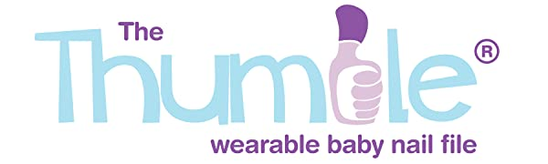The Thumble wearable baby nail file company logo better than nail clippers. Safe and simple to use.