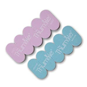 The Thumble purple soft newborn and The Thumble blue medium 6 months+ stick of 5 snap-off nail files