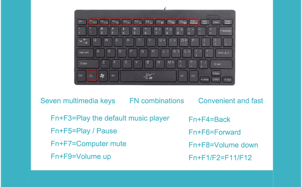 SR Mini Keyboard Wired Thin Light 78 Keys USB Multimedia Small for Pc  Computer Laptop