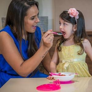 suction bowl, baby feeding, toddler feeding, silicone bowl, spoon fork silicone, self feeding,
