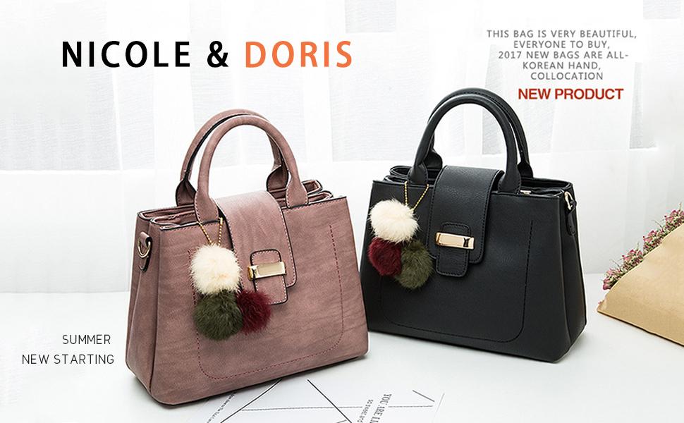 bcef08fd6ebd NICOLE&DORIS Simple Top Handle Handbag Messenger Shoulder Small ...