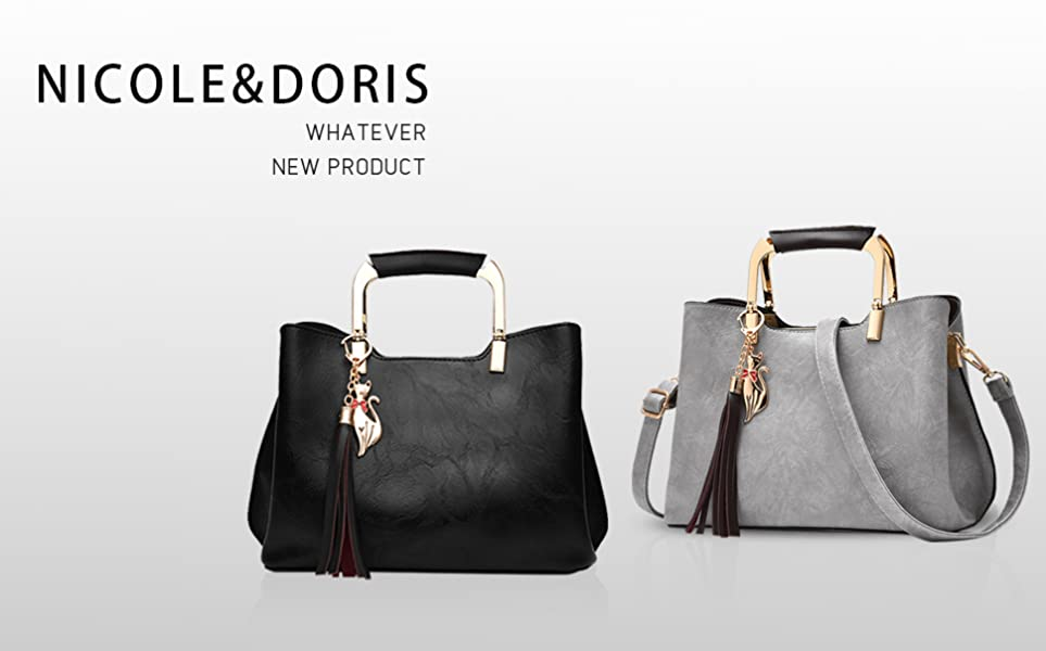 NICOLE/&DORIS Women Flowers Top Handle Handbags Shoulder Bag Crossbody Bag Tote Satchel for Ladies PU Leather