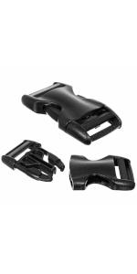 black plastic buckles