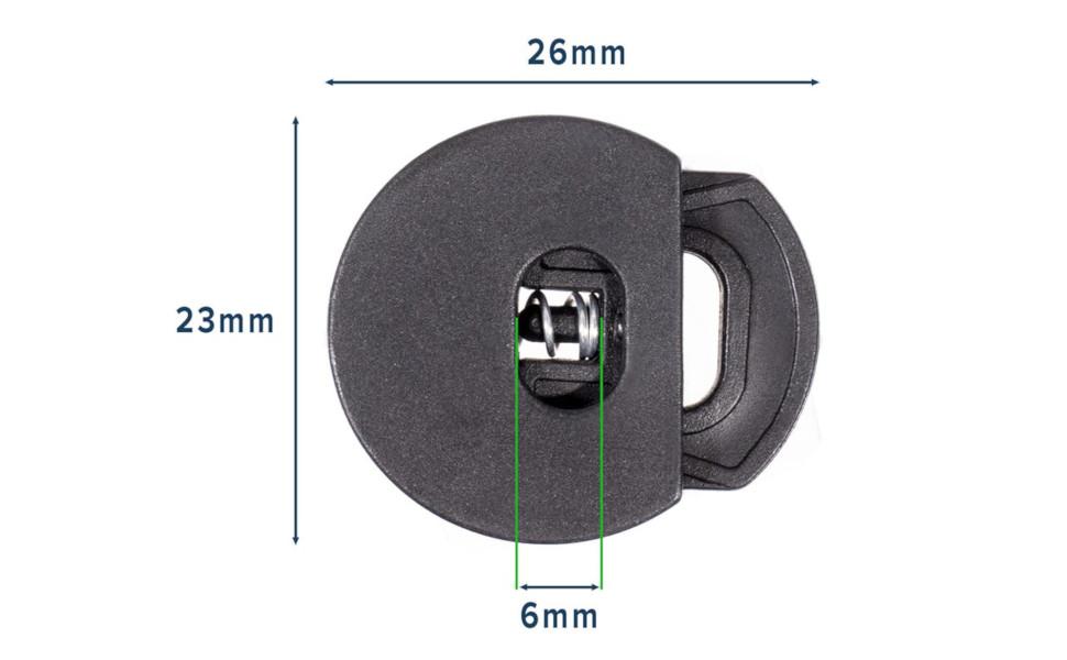 Circle Toggle Adjuster Cord Lock Black Measurements 26mm 23mm 6mm Green  Blue Lines Metal Spring