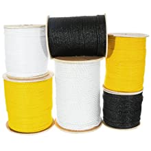 polypropylene rope in white black yellow on spools stacked for photo synthetic fiber rope cord twine