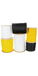 Polypropylene Main Image All Colors - Black, White, Yellow, stacked on spools 3 strand Twisted rope
