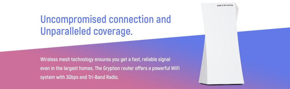 GRYPHON - Advance Security & Parental Control Mesh WiFi Router (up to  3000sqft) AC3000 Tri-Band, Hack Protection w/AI-Intrusion Detection & ESET