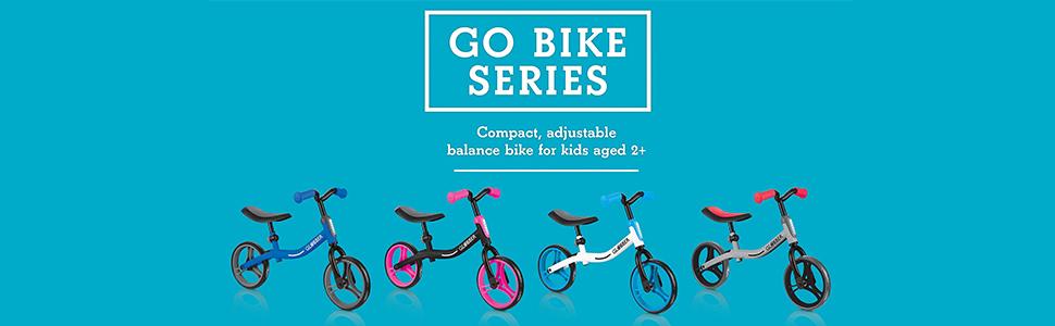 Black and Blue Globber GO BIKE Adjustable Balance Training Bike for Toddlers