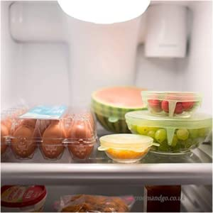 Reusable Durable and Expandable Lids, Silicone Covers for Fresh Food & Leftovers - Keep Food Fresh, Stretch for Container, Bowl and Cup in Dishwasher