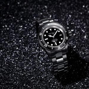 66b069753 Matte black 316L stainless steel automatic diver watch, first-class DLC  polishing;Weight: 250g ...