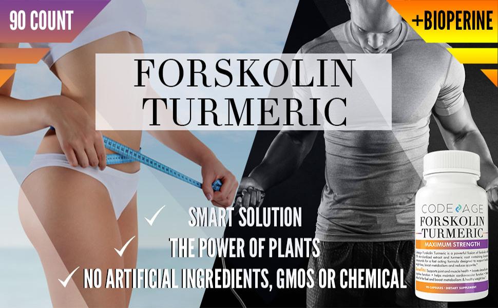 Codeage Turmeric Forskolin Formula for Men and Women Forskolin 20 Percent  Standardized Extract and