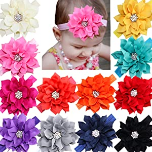 Baby Toddler Stretchy Band. Large Rose Flower Headbands Hairbands CLEARNCE!!