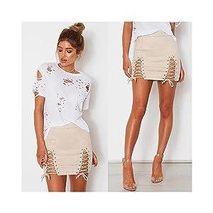 Split Tight Lace Up Mini Skirt