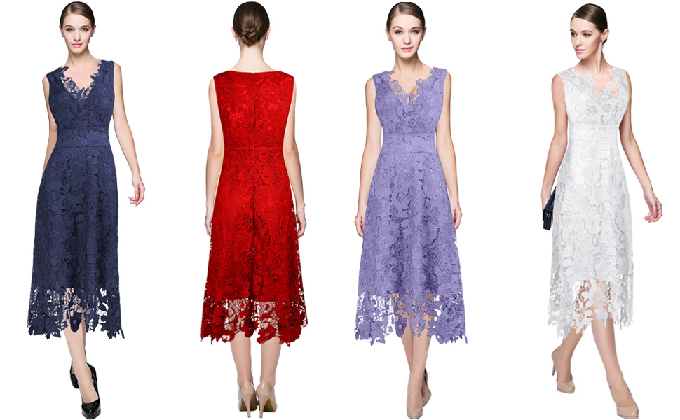 Beige Elegant V Neck Bridesmaid Dress: KIMILILY Women's V Neck Elegant Floral Lace Swing