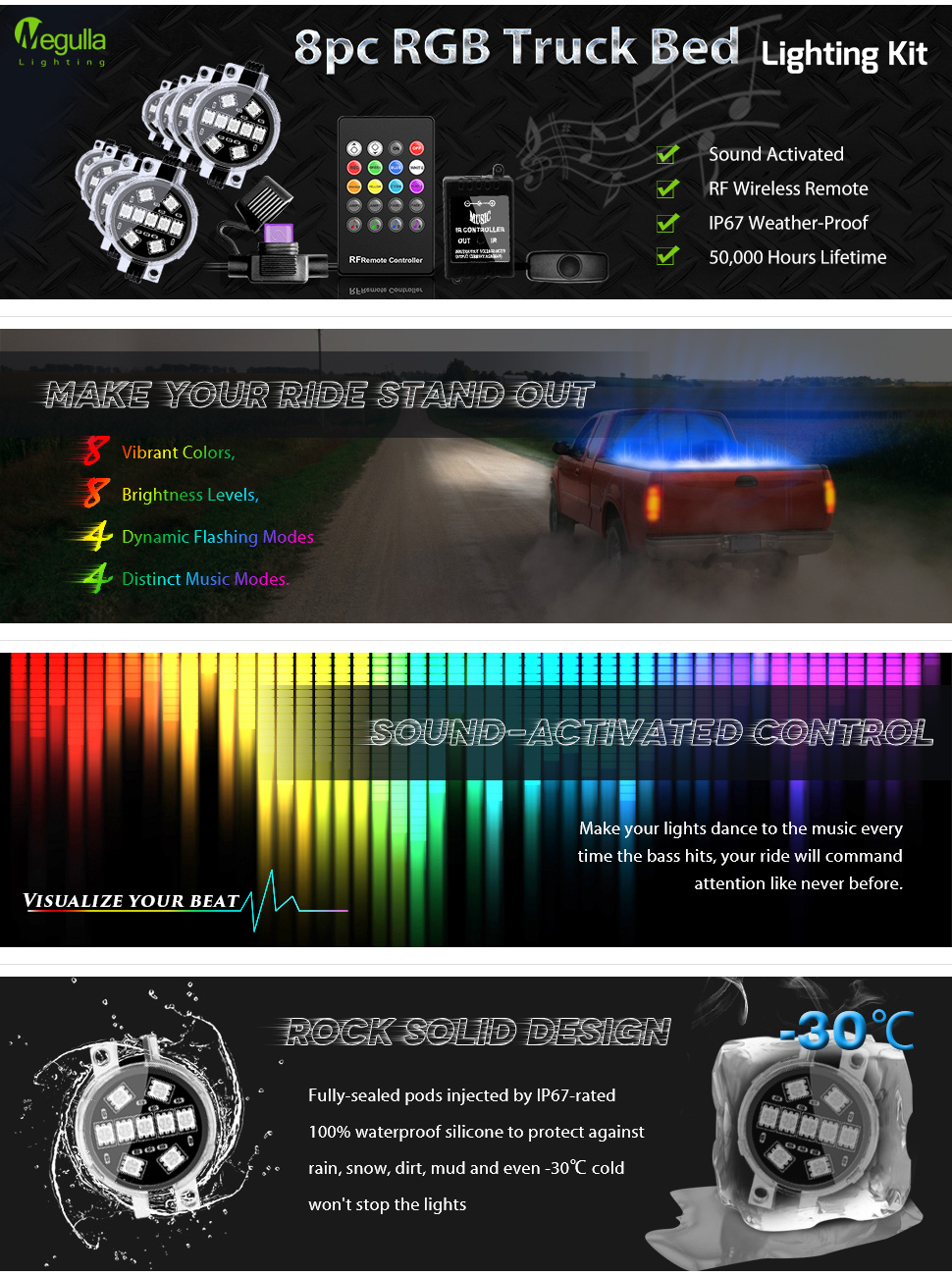 Led 8pc Rgb Truck Bed Lighting Kit Megulla Multi Color Ww Stock Trailer Wiring Harness For Lights System Mg Tbl101
