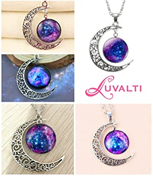 Amazon galaxy crescent cosmic moon pendant necklace purple perfect for your special lady aloadofball Choice Image